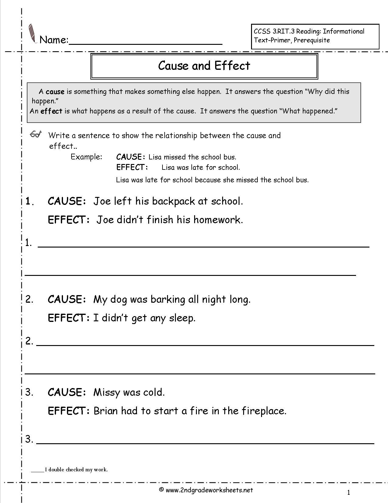 Cause And Effect Worksheets 3rd Grade The Best Worksheets Image