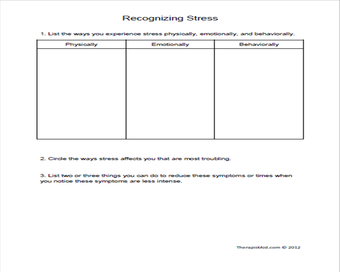 Cbt Stress Management Worksheets