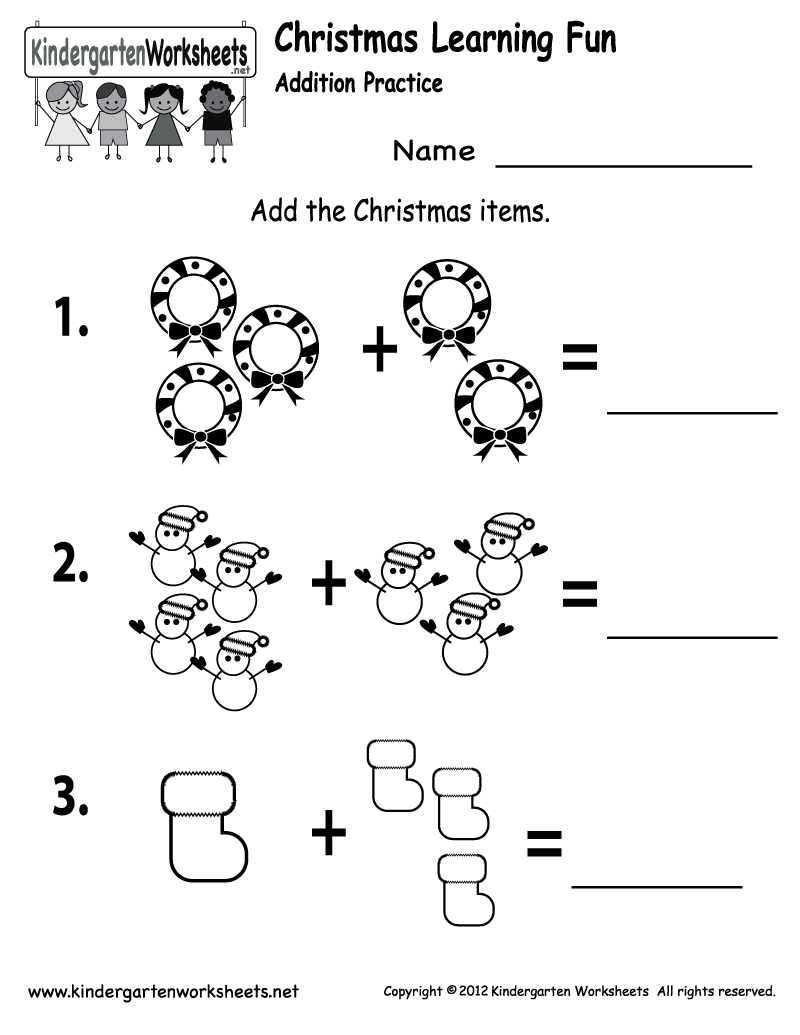 Christmas Addition Worksheets Worksheets For All