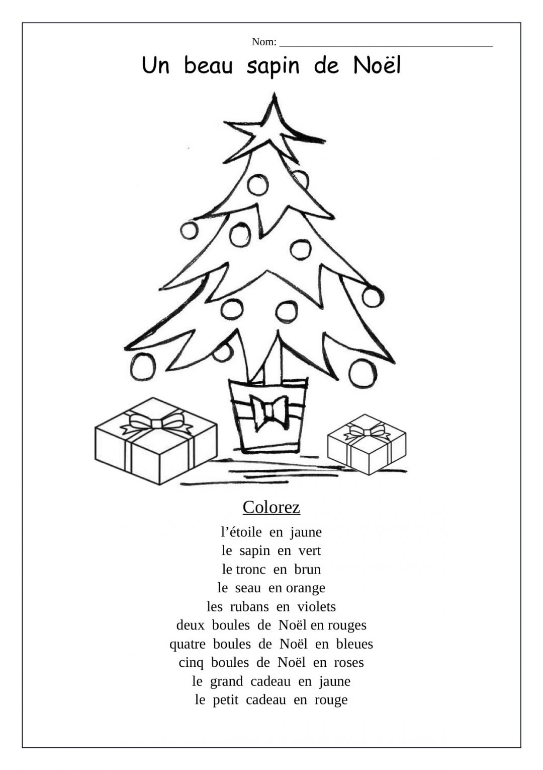 Christmas Tree Worksheetsarten Math For Coloring Pages In French