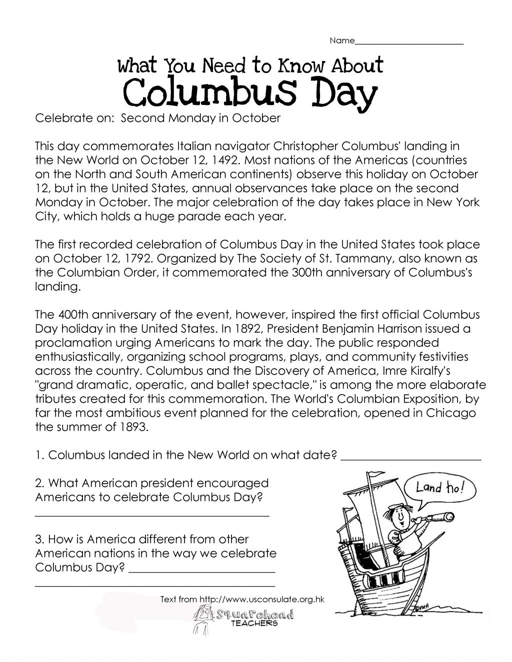 Columbus Day Free Reading Comprehension Worksheets For Thirdrs