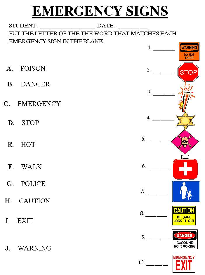 Community Signs Worksheets