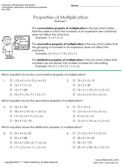 Commutative Property Multiplication Worksheets 3rd Grade The Best