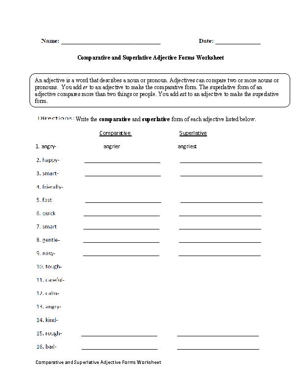 Comparative Adjectives Worksheet Doc