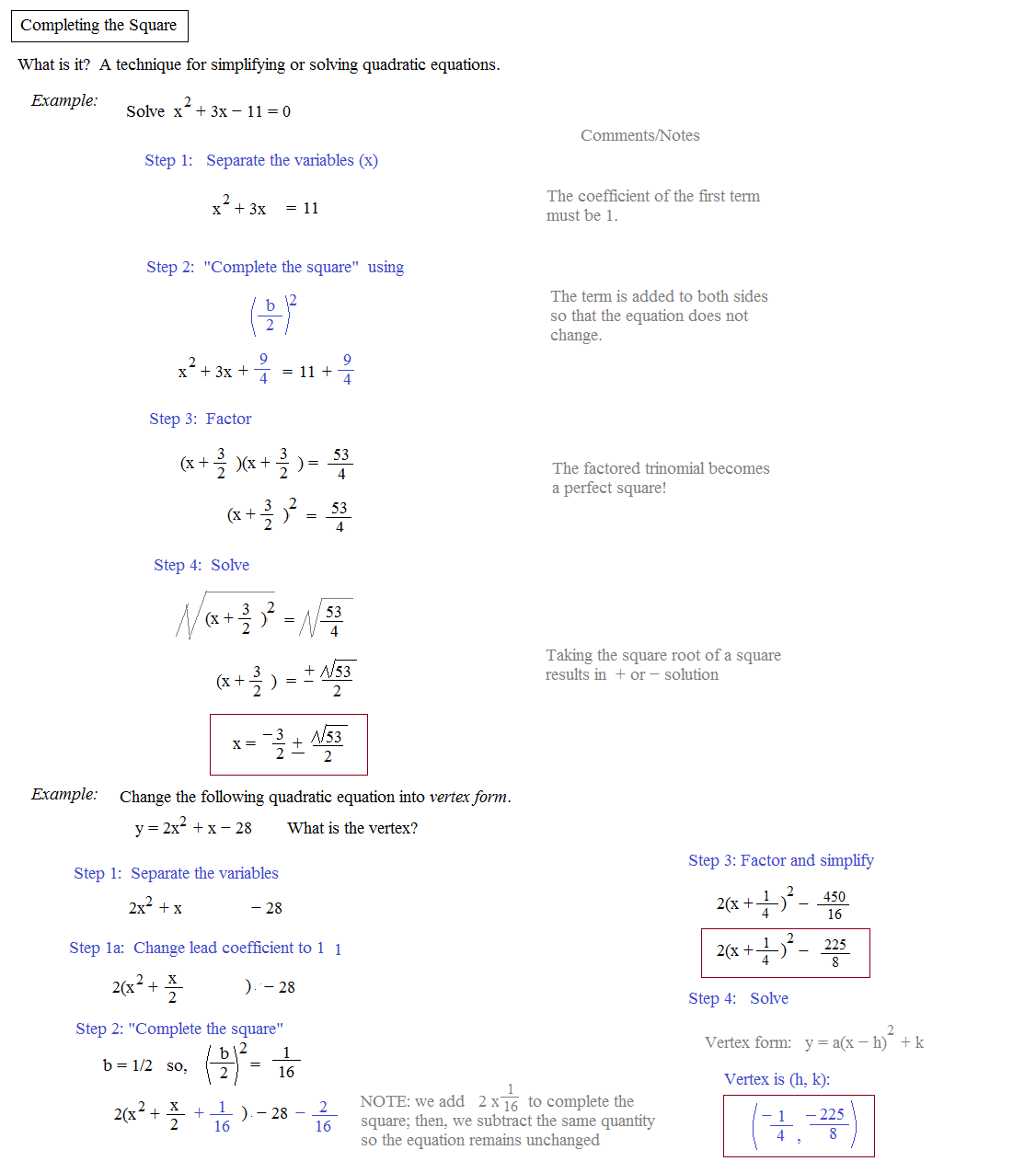 Completing The Square Worksheets With Answers Worksheets For All
