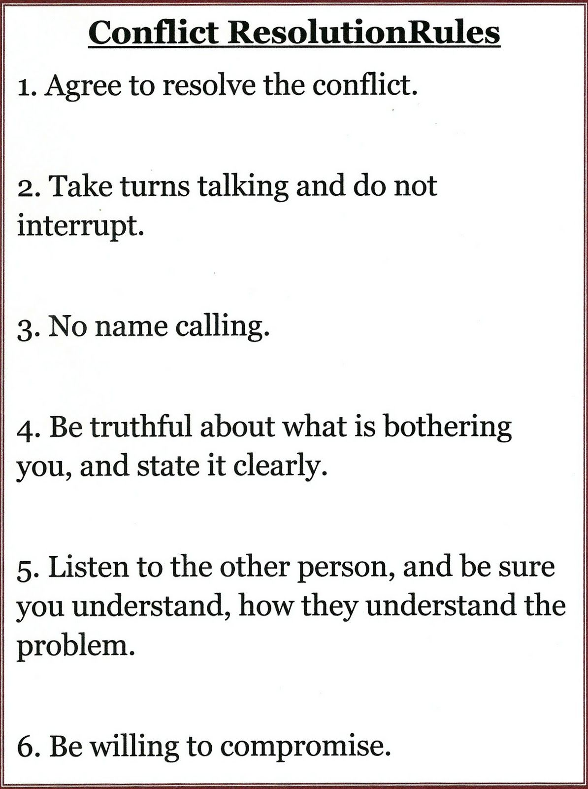 Conflict Resolution Rules …