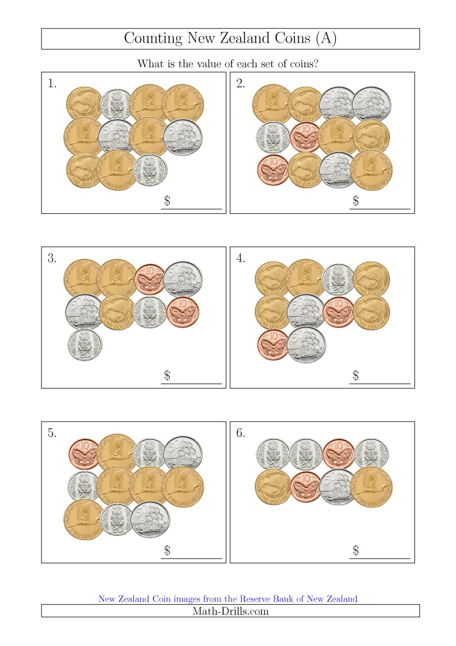 Counting New Zealand Coins (a)