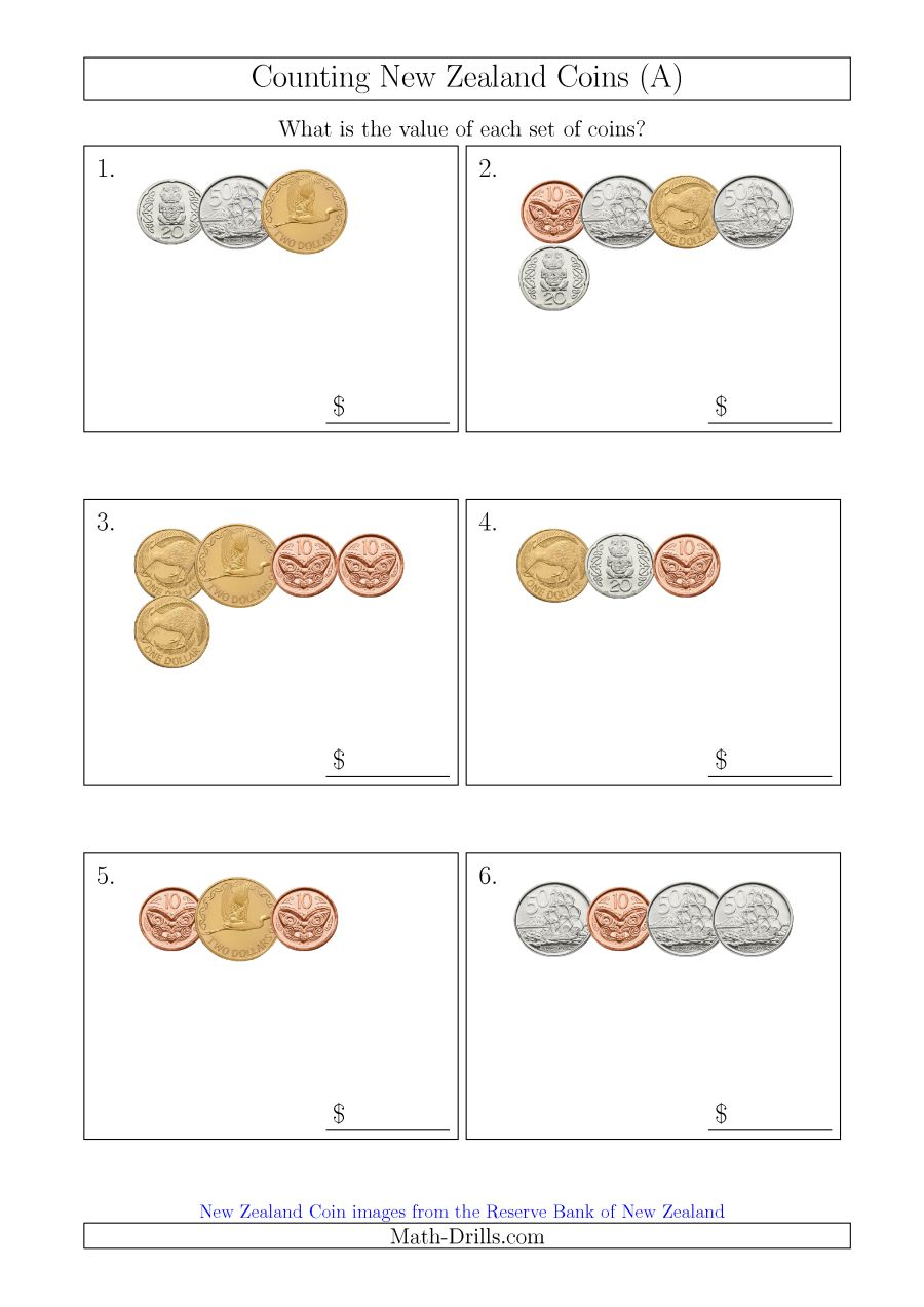 Counting Small Collections Of New Zealand Coins (a)