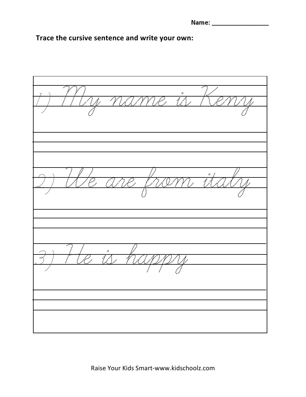 Cursive Writing Sentences Worksheets Free Library Sentence For