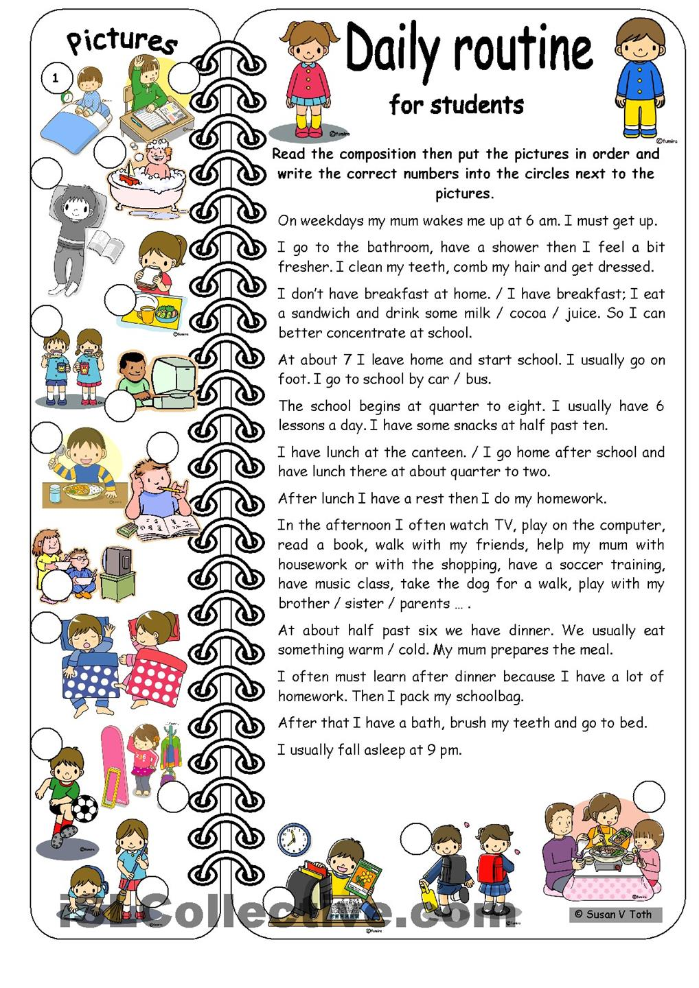 Daily Routines For Students   Elementary   With Key