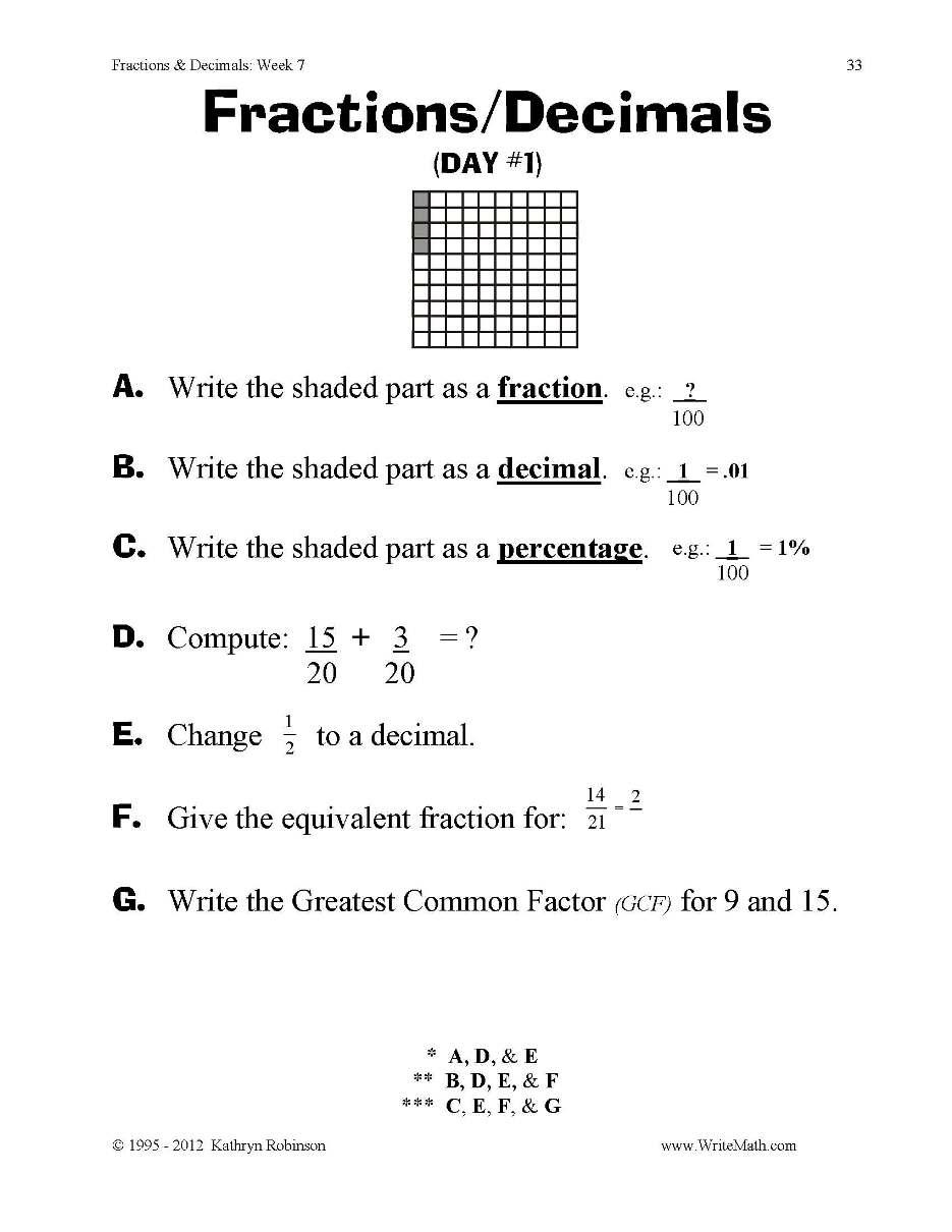 Decimal Worksheet 4th Grade Worksheets For All