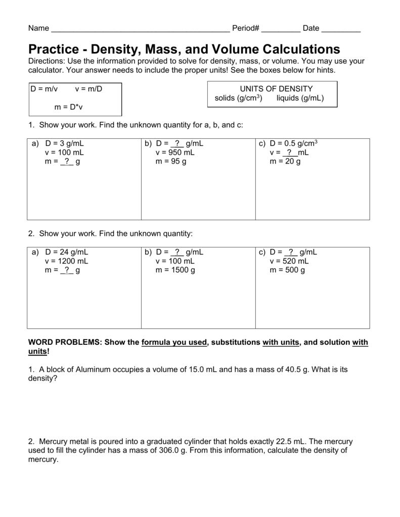 Density Calculations Worksheet I