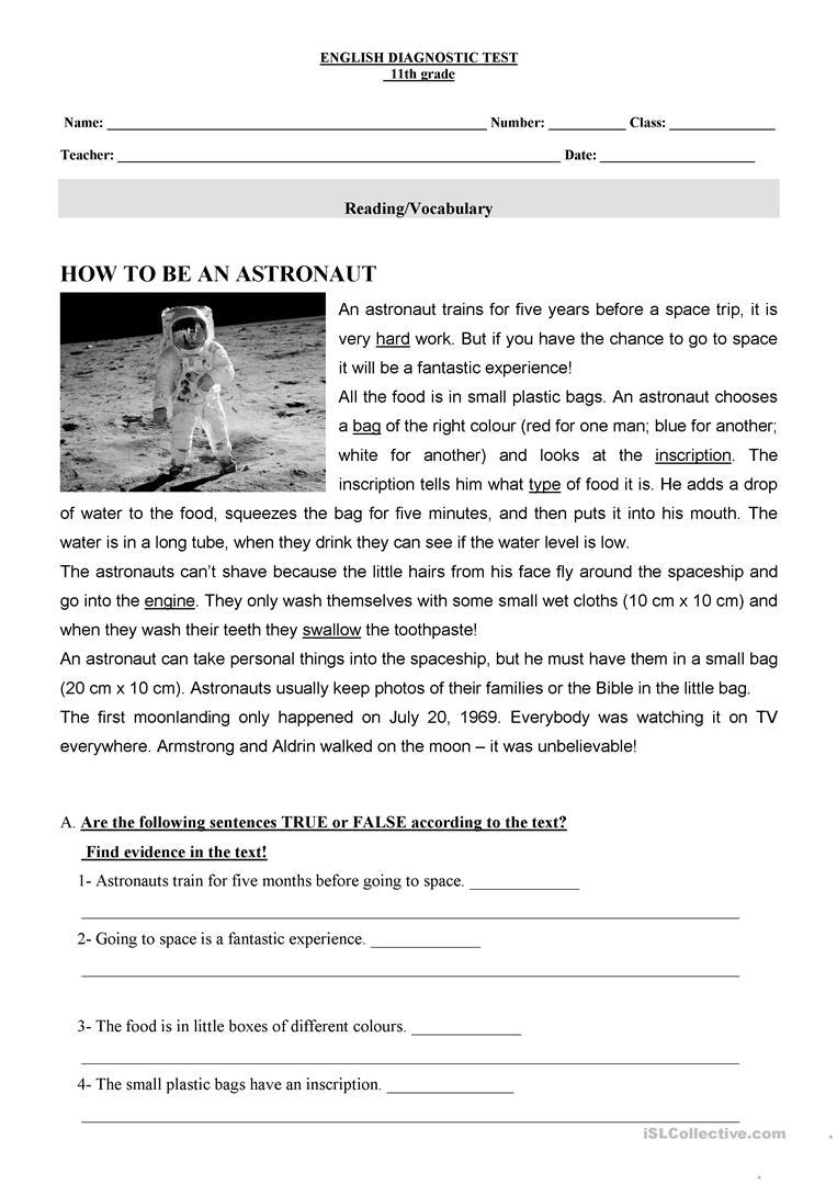Diagnosticteste Esl 11th Grade Worksheet