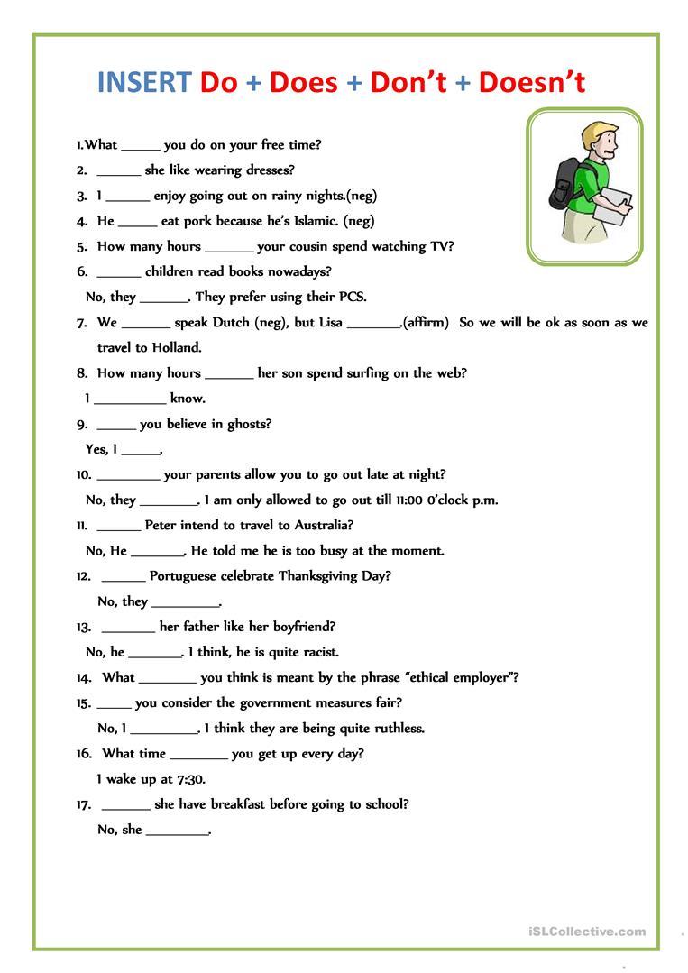 Do Does Doesnt Worksheets