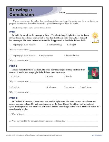 Draw Conclusions Worksheet 3rd Grade The Best Worksheets Image