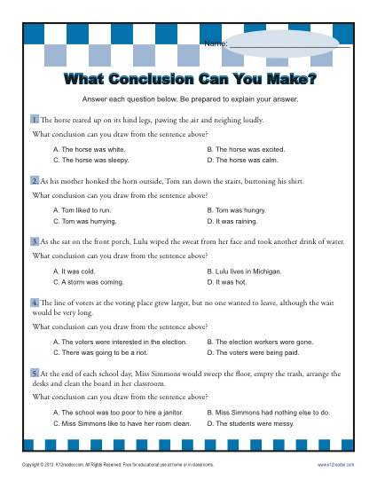 Draw Conclusions Worksheet 5th Grade The Best Worksheets Image