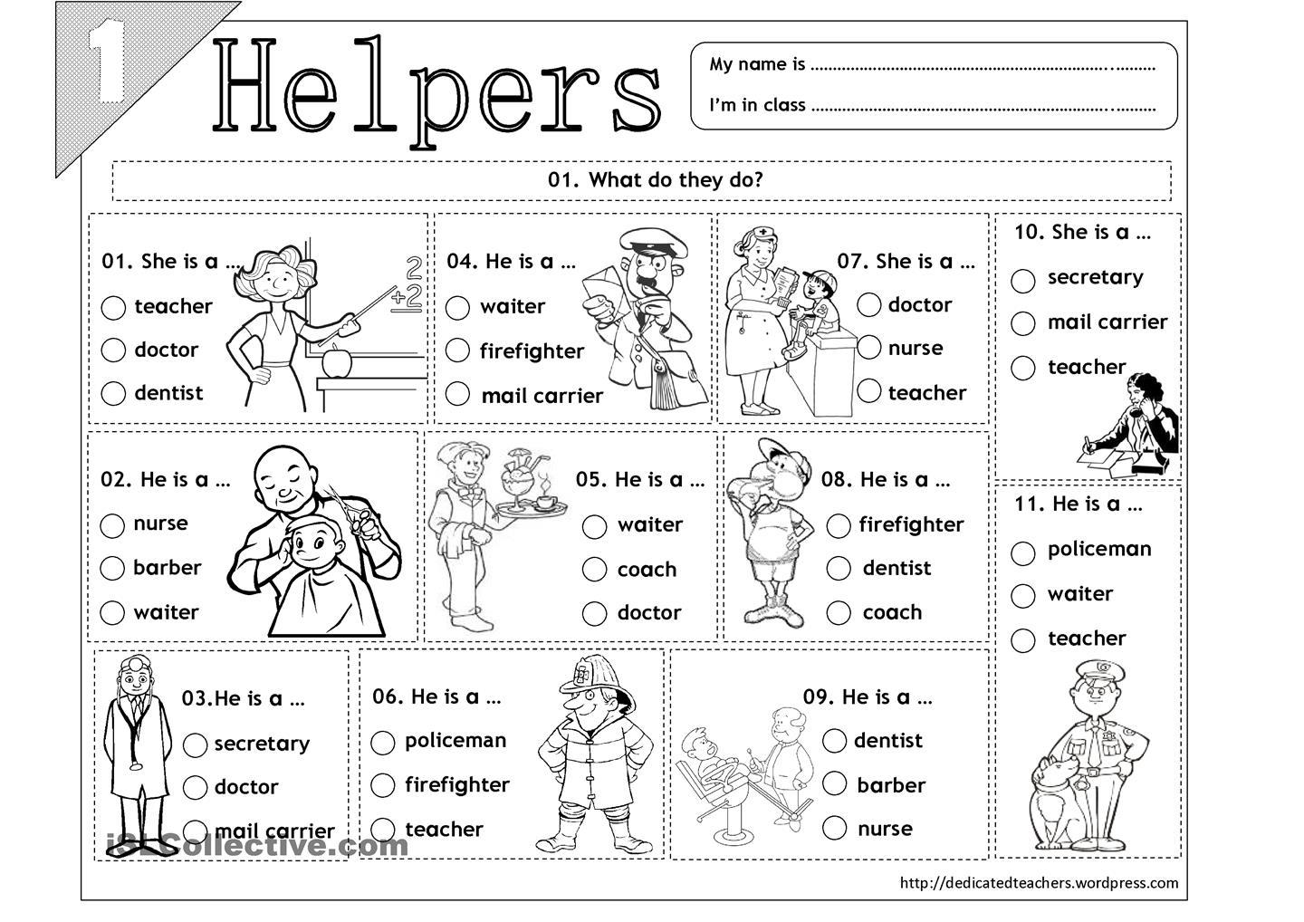 Easy Free Community Helpers Printables Worksheet Worksheets For