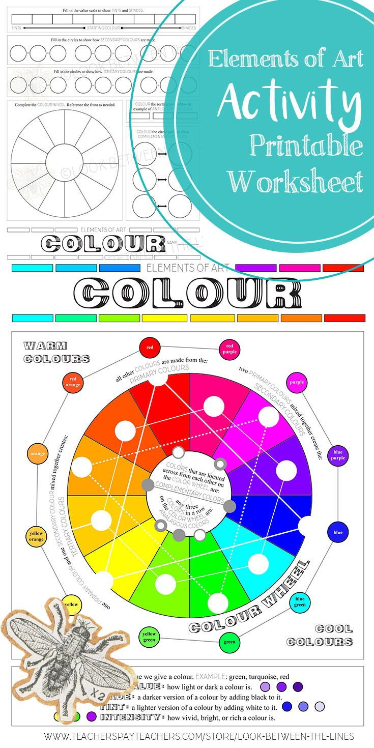 Elements Of Art, Colour, Worksheet, Activity For All Visual Art