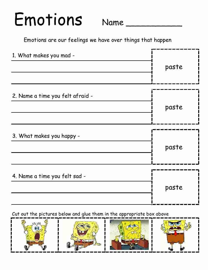 Emotion Worksheets For Adults