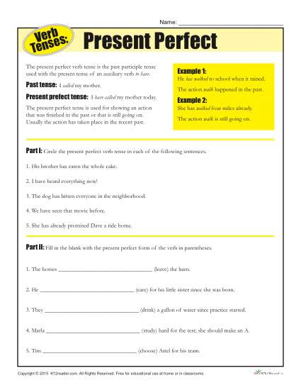 English Worksheet Present Perfect And Present Perfect