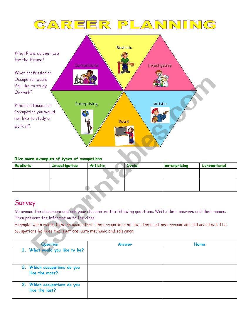 English Worksheets  Career Planning