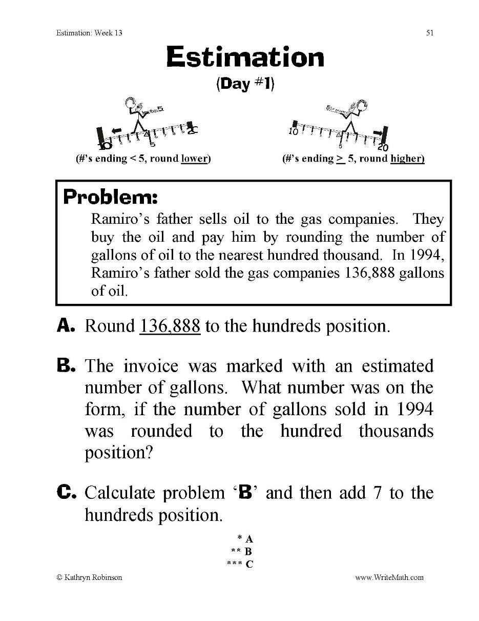 Estimation Worksheet Year 4