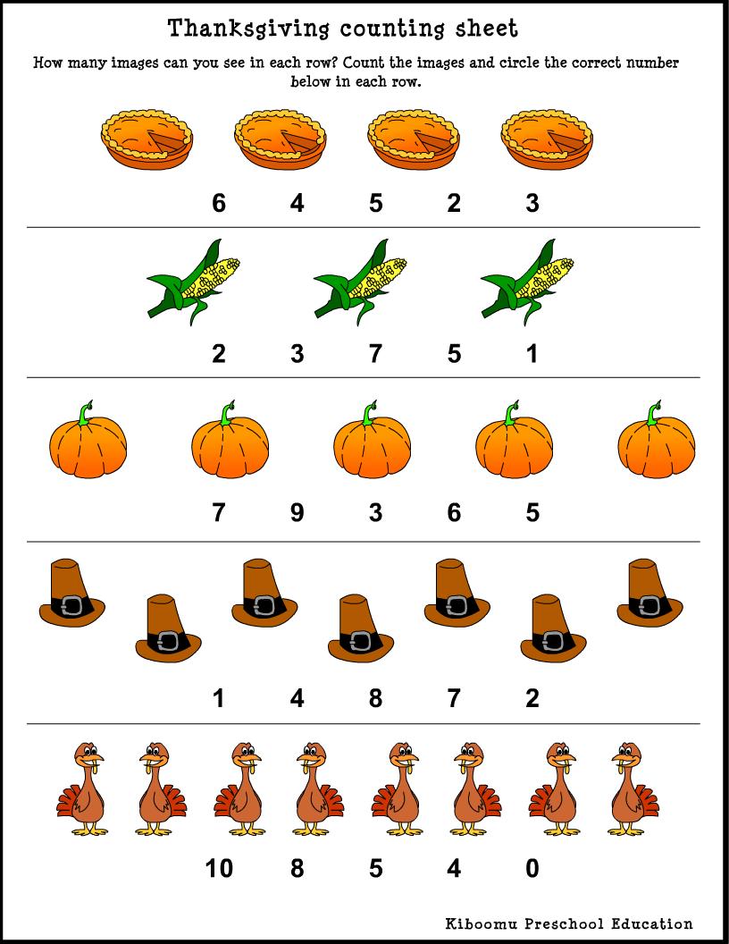 Fascinating Math Worksheets For Kindergarten Thanksgiving Also