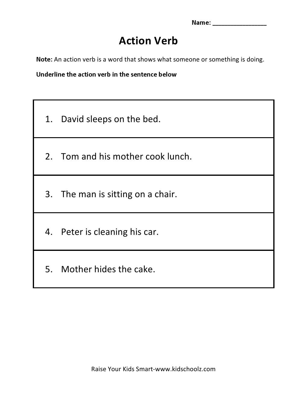 Fascinating Worksheet For Grade 1 Action Words Also Grade 2 Action