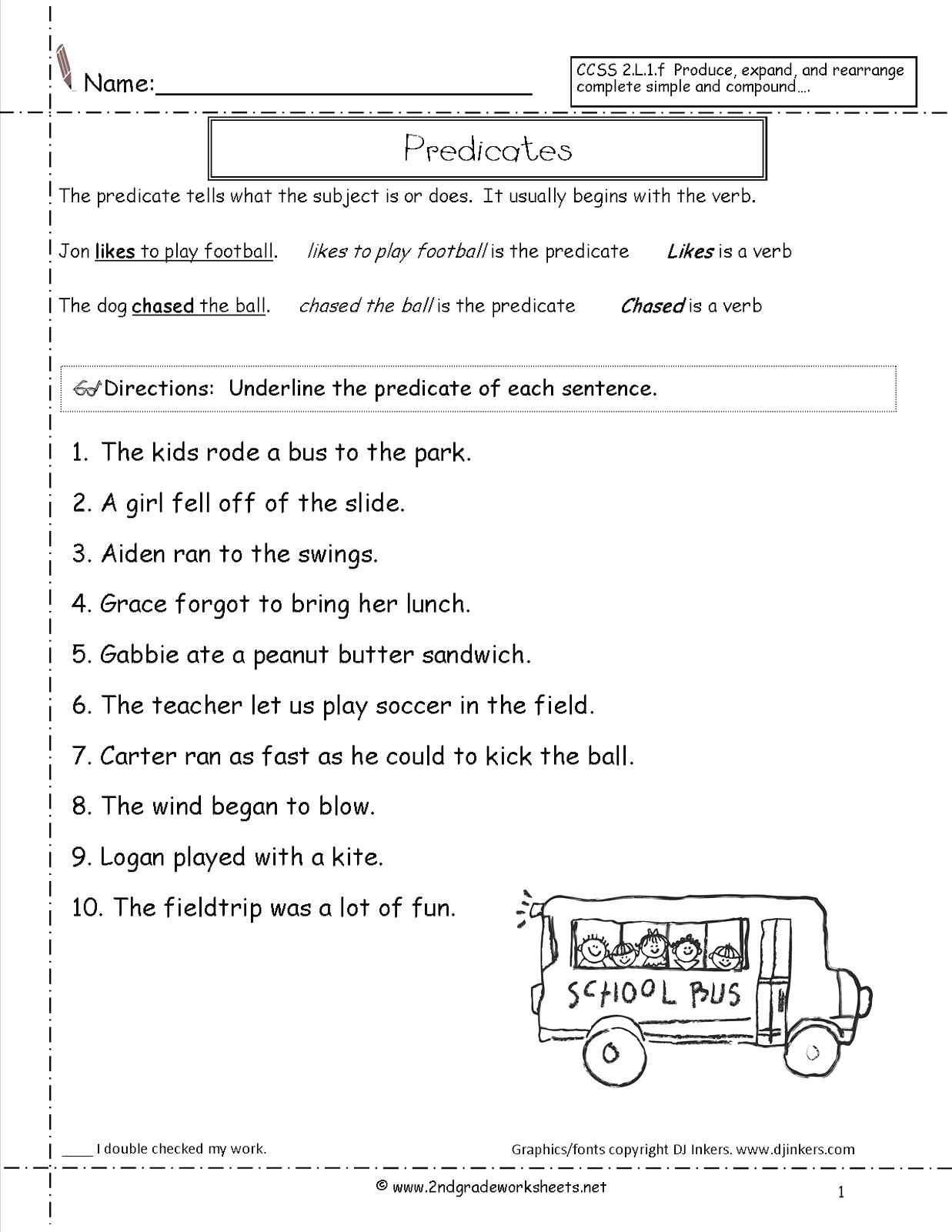 Finding Subjects And Verbs Worksheets