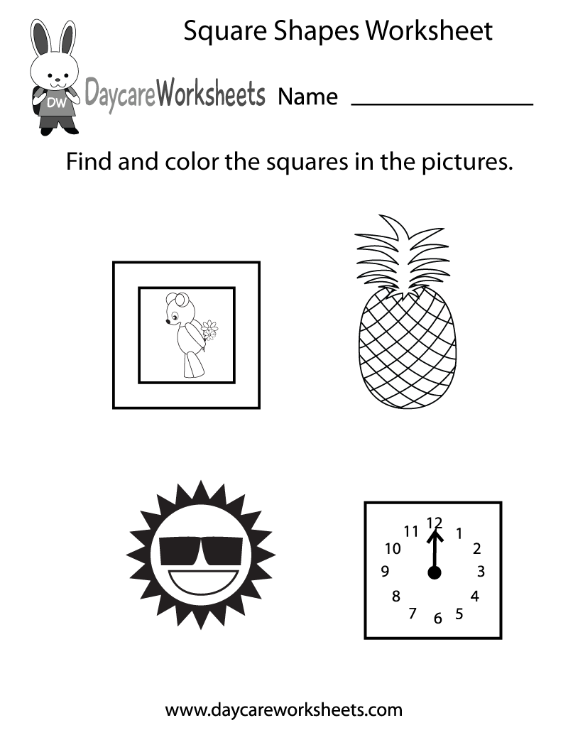 Formidable Free Worksheets For Preschool Shapes Also Free Square