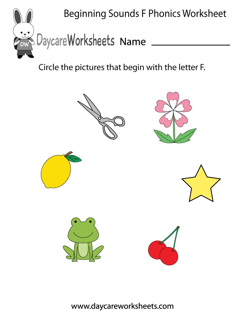 Free Beginning Sounds Letter F Phonics Worksheet For Preschool