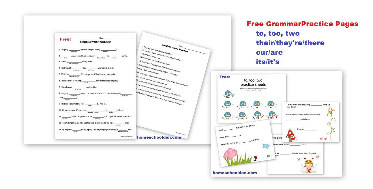 Free Homophone Practice Worksheet (to