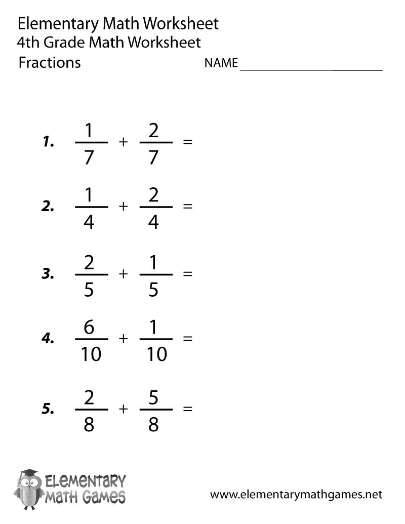 Math Worksheets For Grade 4 Fractions