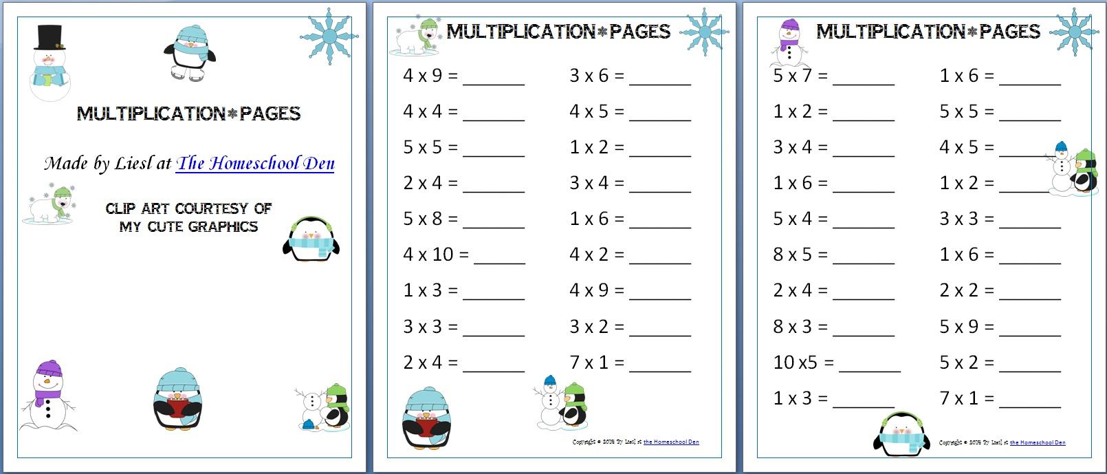 Free Multiplication Worksheets Archives
