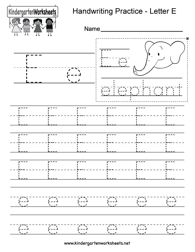 Free Printable Letter E Writing Practice Worksheet For Kindergarten