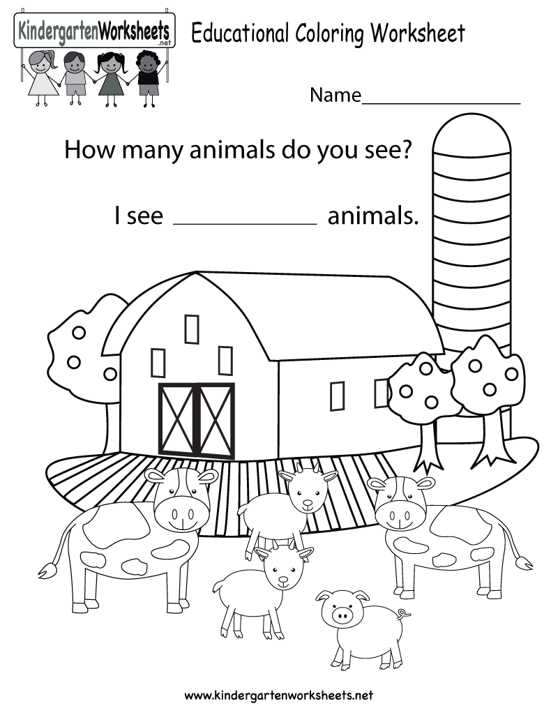Free Printable Math Coloring Worksheet For Kindergarten First Day