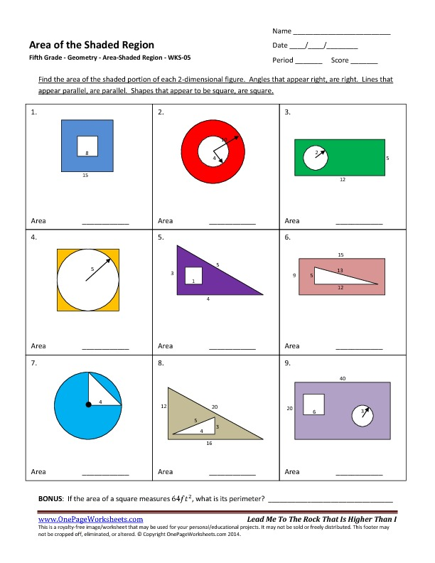 Area Of Shaded Region Worksheets