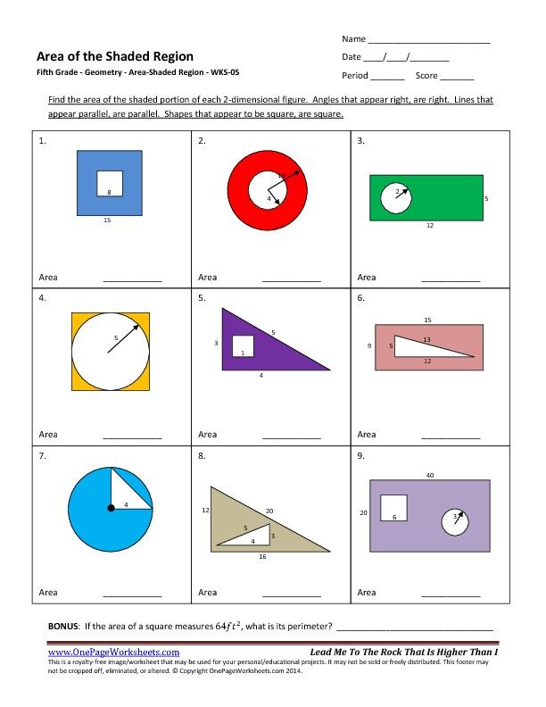 Free Worksheets » Area Of Shaded Region Worksheet