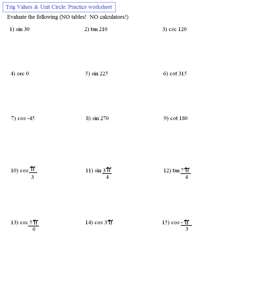 Free Worksheets On Trigonometric Functions
