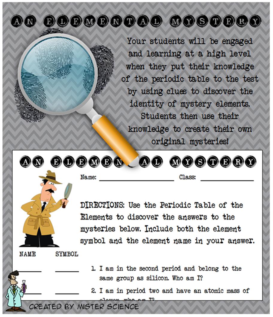 Fun Elemental Mystery Activity Element Periodic Table Atom Jr High