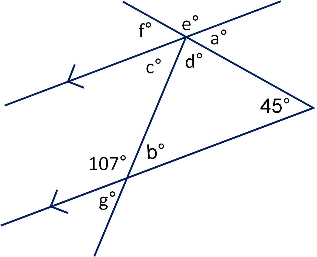 Geometry  Angles In Triangles And On Parallel Lines Worksheet