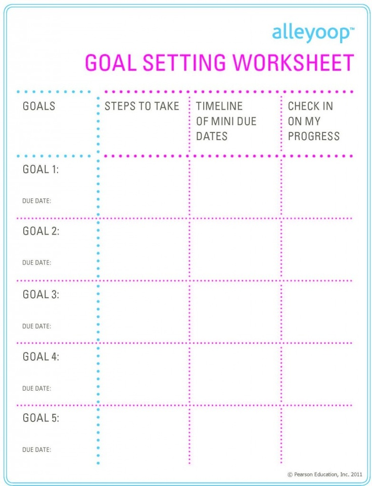 Goal Setting For Middle School Students Template Choice Image