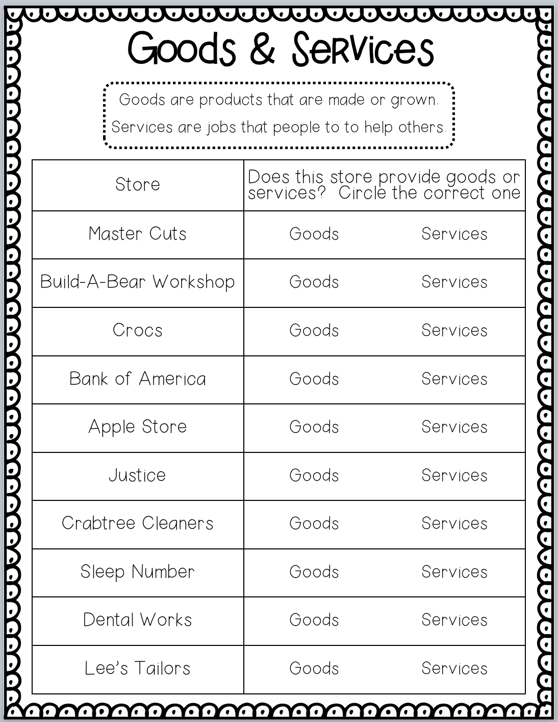 Goods And Services Worksheets Worksheets For All