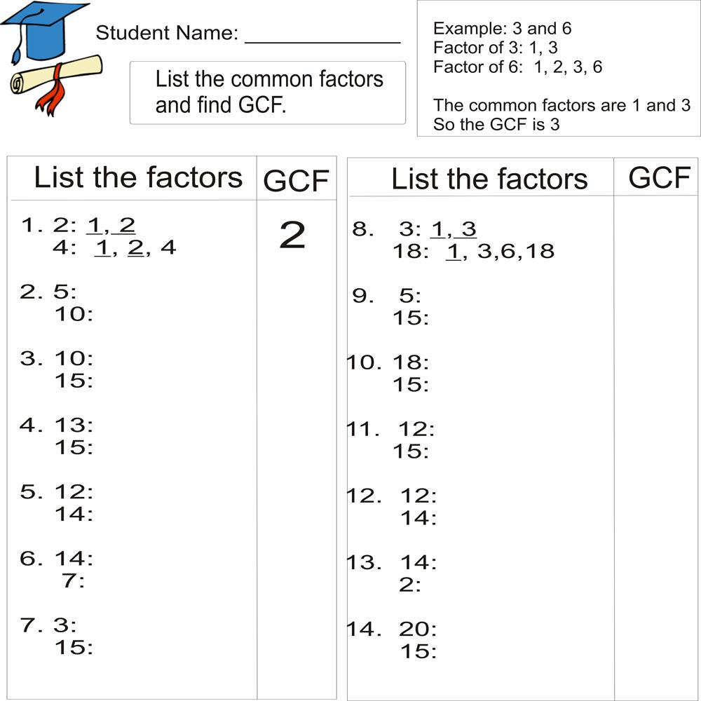 Greatest Common Factor 1to 20 (from Study Village Website