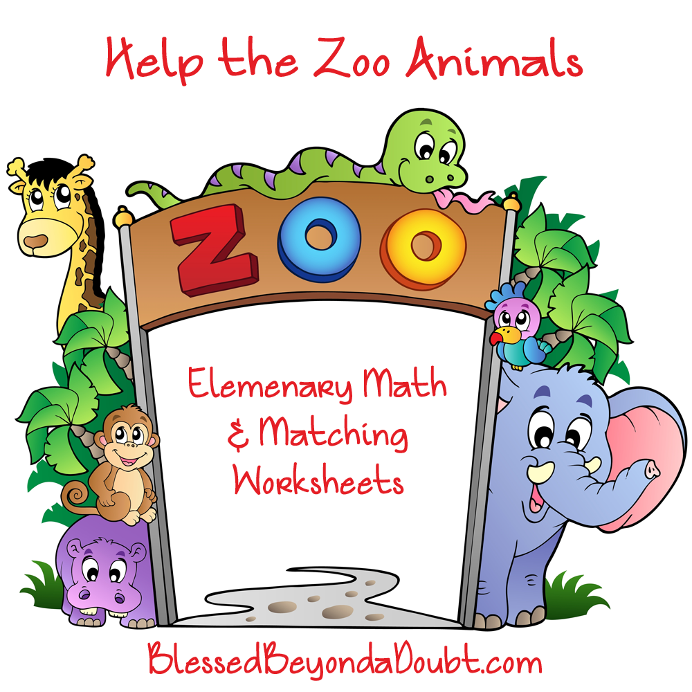 Help The Zoo Animals! Elementary Math And Matching Worksheets
