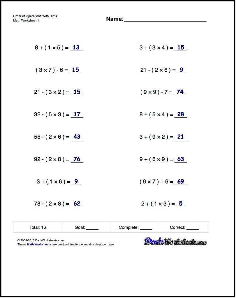 If You Are Looking For Order Of Operations Worksheets That Test