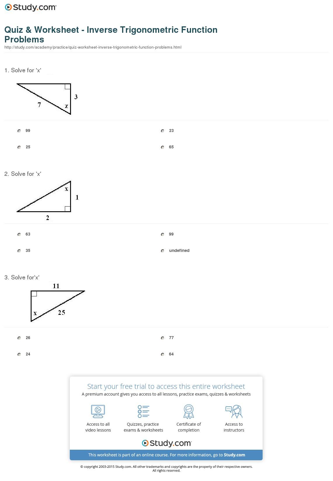 Interesting Trigonometry Worksheet Circular Functions Answers For