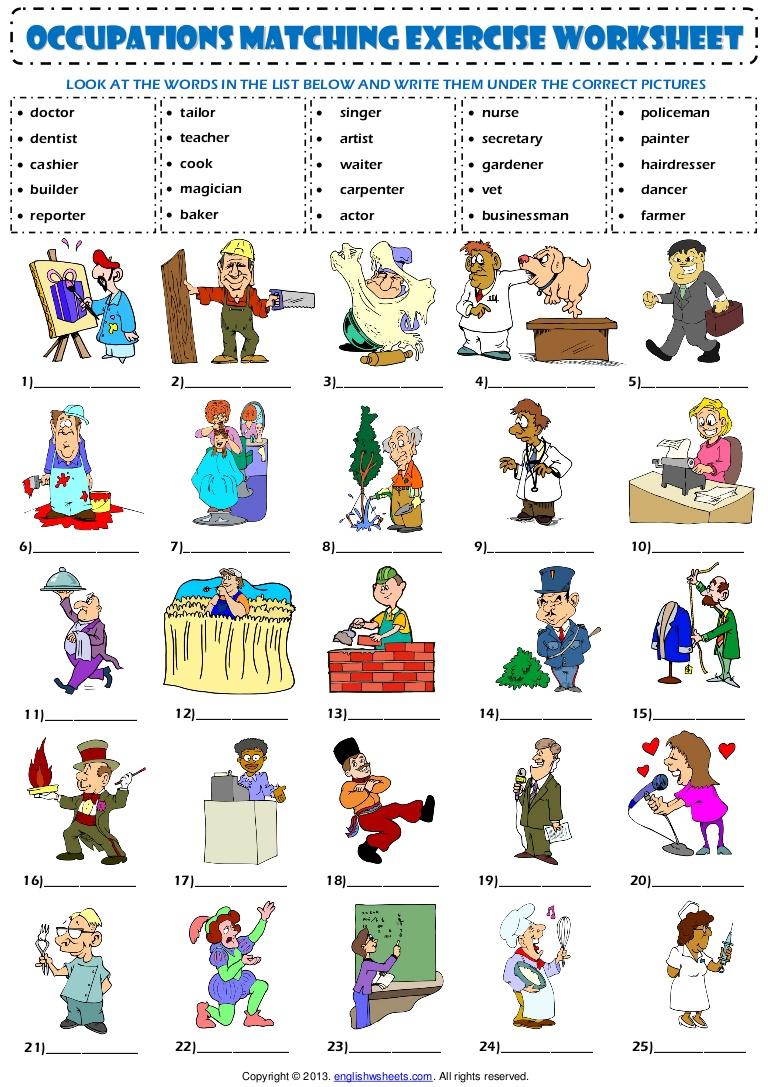 Jobs Worksheets For Kindergarten Pdf
