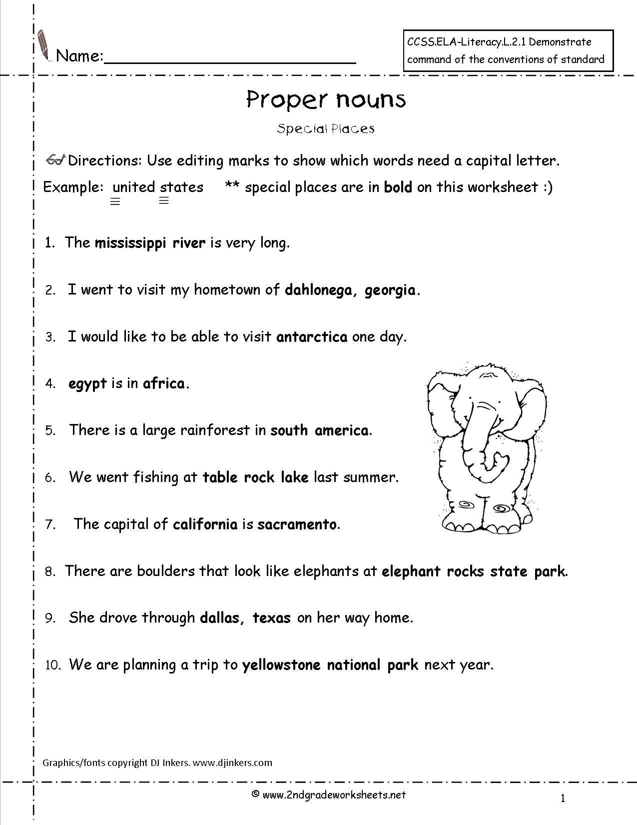 Kids  Capitalization Worksheets For First Grade  Proper Nouns