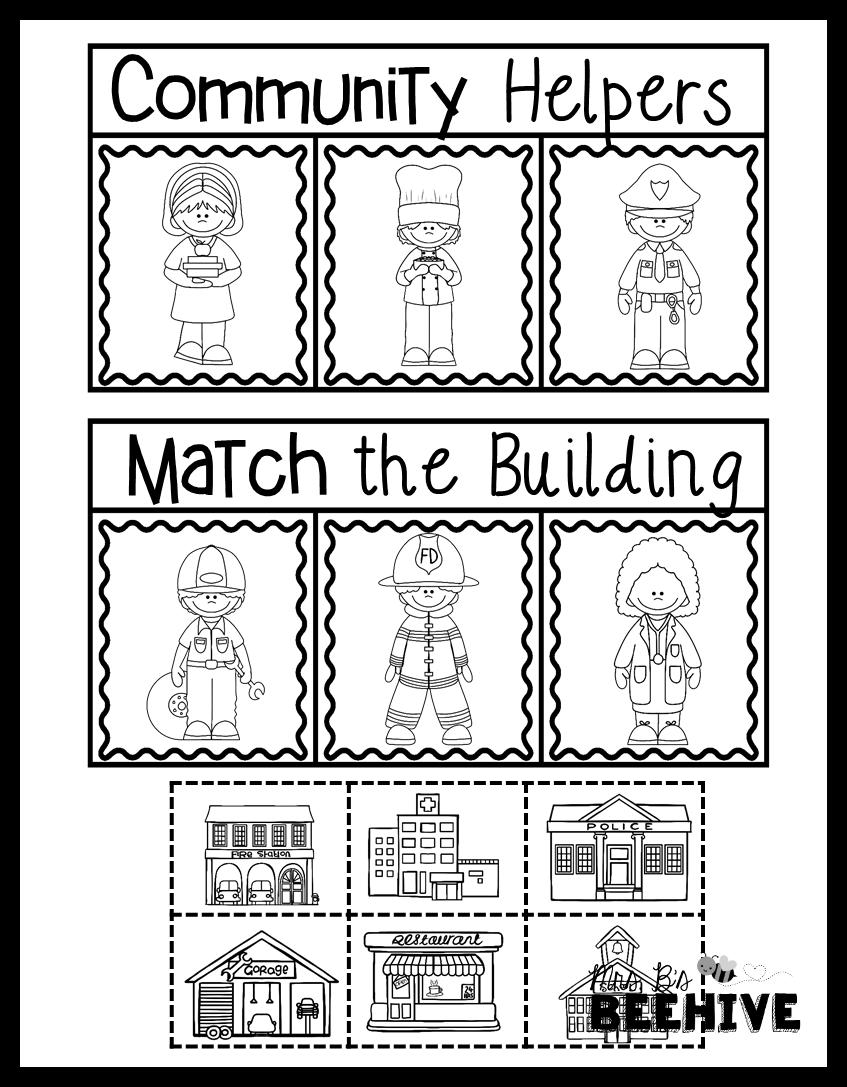 Kindergarten Community Helpers Match The Building Social Studies